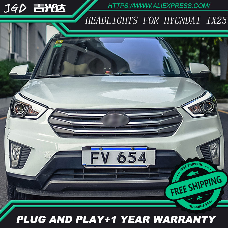 Car Styling Head Lamp case for Hyundai Creta Headlights 2015-2016 IX25 LED Headlight DRL H7 D2H Hid Option Angel Eye Bi Xenon комбинация цепочек victorinox 4 1854 b1