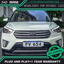 Стайлинга автомобилей случае Головная Лампа для Hyundai Creta Фары 2015-2016 IX25 СВЕТОДИОДНЫЕ Фары DRL H7 D2H Hid Вариант Глаза Ангела Би Ксенон