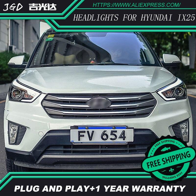 Car Styling Head Lamp Case For Hyundai Creta Headlights 2015 2016 IX25 LED Headlight DRL H7