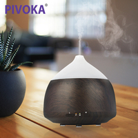 PIVOKA Electric Wood Grain Air Purifier Bluetooth Music Player Aroma Humidifier Essential Oil Fragrance Diffuser LED