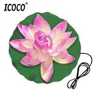 Icoco ledロータスフラワーランプ水resistantoutdoor噴水フローティング池夜ライトランプ用ガーデン庭プール防水