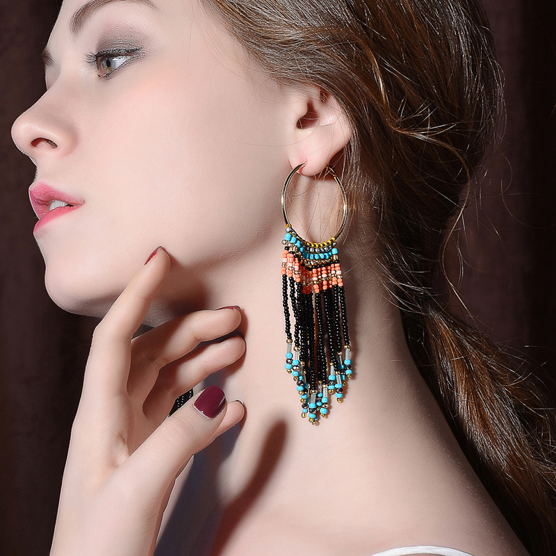 Bohemian Ear Cuff Polychrome Line Beads Drop Earrings Foreign Style Gergeous Marvel Ethereal Floating Charms 2018 Wholesale