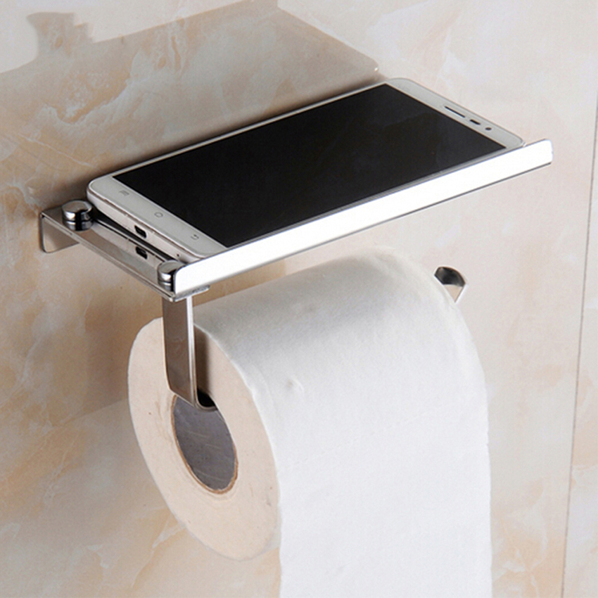 Stainless Steel Toilet Paper Holder Bathroom Wall Mount WC Paper Phone Holder Shelf Towel Roll Shelf Accessories