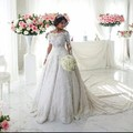 Vestido de Novia 2016 Luxry Boat Neck Lace Bridal Gown Romantic Long Sleeves Appliques Beading Ball Gown Wedding Dresses