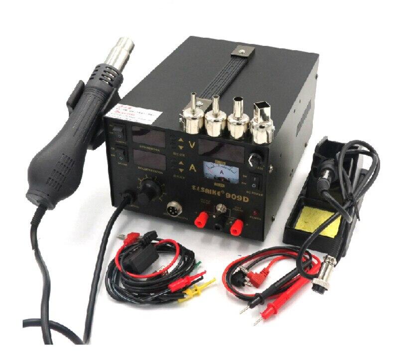Free Shipping 3 In 1 Hot Air Gun Rework Station SAIKE 909D Soldering Station Power Supply Soldering Machine 220V Or 110V