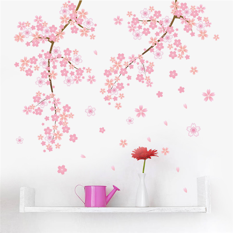 US $3.81 34% OFF|pink Cherry blossoms tree romantic garden diy home decal  wall sticker girls bedroom wall art TV background decorative poster-in Wall  ...