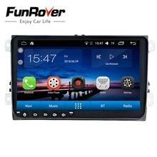"Funrover 2 din 9 ""Android8.0 car stereo dvd GPS per il VW Polo Jetta Tiguan passat b5 b6 fabia mirrorlink wifi BT radio auto nodvd"