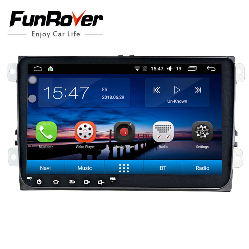 Funrover 2 din 9'' Android8.0 car dvd stereo GPS for VW Polo Jetta Tiguan passat b5 b6 fabia mirrorlink wifi BT auto radio nodvd