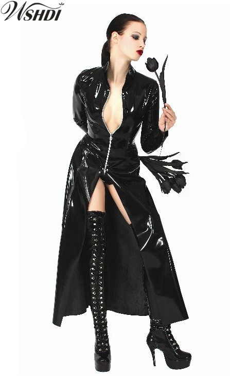 Men//Women Long Patent Leather Trench Coat Windbreaker Shiny Top Costume Cosplay