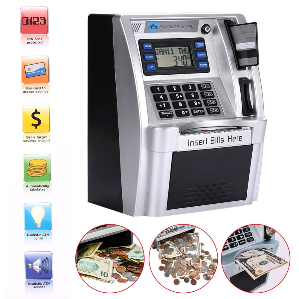 giantree Simulation ATM Saving Banks ATM Piggy Bank ATM Money Safe Boxes with LCD Screen Silver Kids gift money safe box