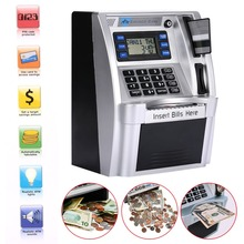 цены giantree Simulation ATM Saving Banks ATM Piggy Bank ATM Money Safe Boxes with LCD Screen Silver Kids gift money safe box