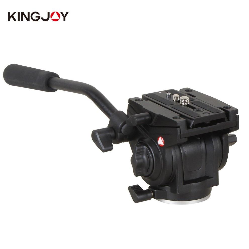 Kingjoy VT-3510 Tripod Head Aluminum Alloy Fluid Damping Head for DSLR Camera with UNC 1/4 3/8 Thread Tripod Accessories