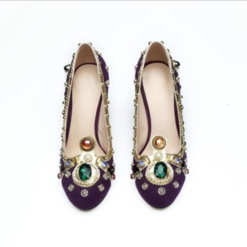 2018 new designer brand Runway real style jewelry pumps colorful luxury gems women high heels party shoes. m style ваза настольная gems