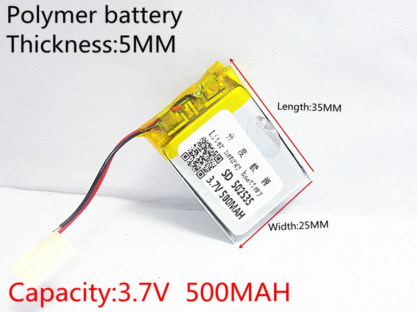 3.7V 500mAh 502535 Lithium Polymer Li-Po li ion Rechargeable Battery cells For Mp3 MP4 MP5 GPS mobile bluetooth