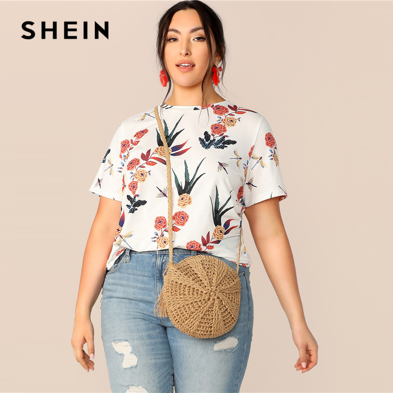dc8979bb0997 SHEIN Plus Size White Botanical Print Round Neck Top T-Shirt 2019 Women  Summer Casual
