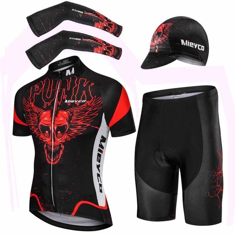 Mieyco lato czaszka z krótkim rękawem kolarstwo zestaw koszulek krótka koszula spodnie rękawy naramienne i czapka Outdoor Sport MTB odzież jeździecka