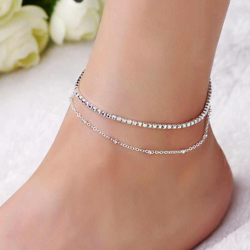 น่ารักสาว AB คริสตัลข้อเท้าสร้อยข้อมือ Silver Link Chain Anklet เซ็กซี่ Barefoot เครื่องประดับผู้หญิงสร้อยข้อมือเท้ามิตรภาพของขวัญ