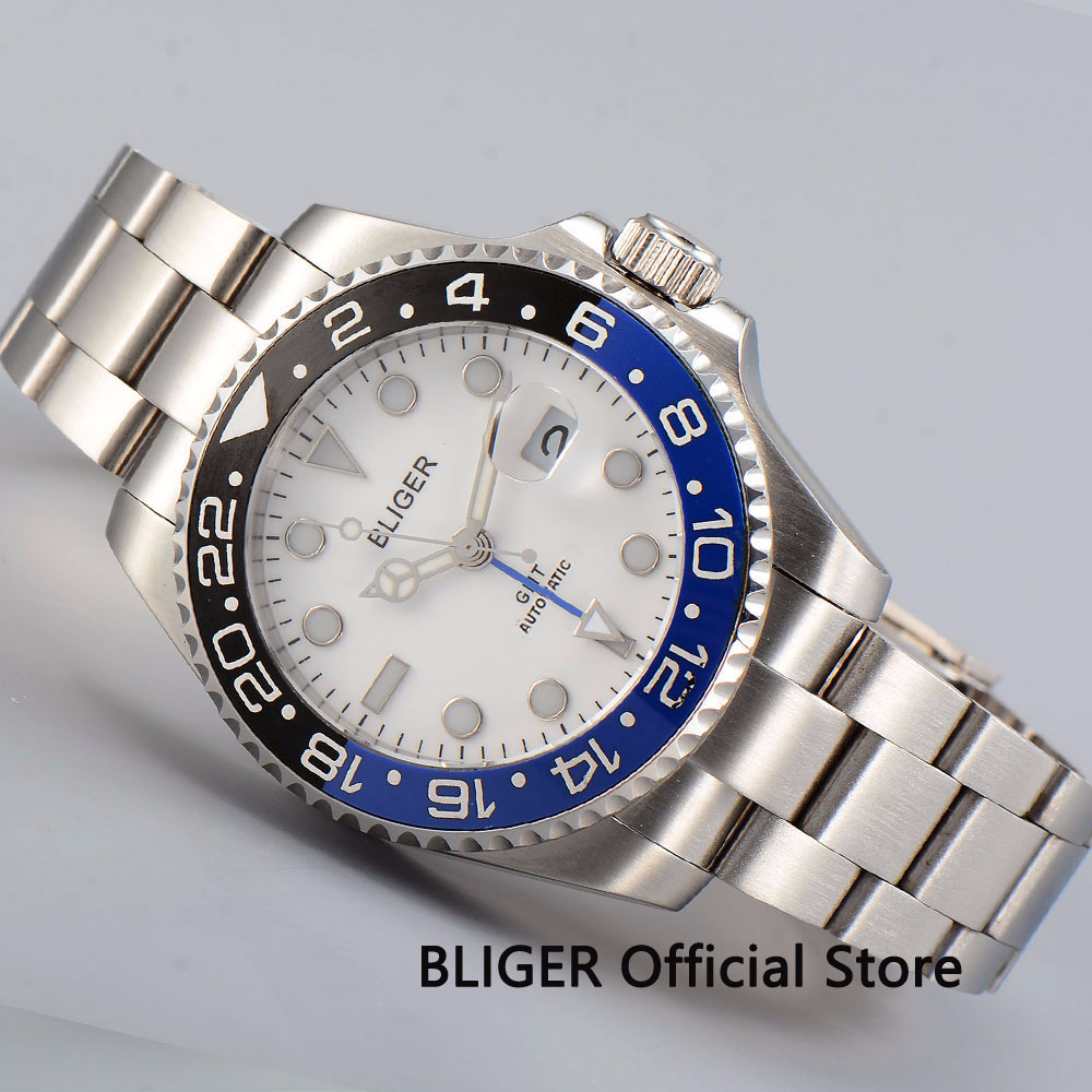 40mm Bliger Mechanical Mens Watch White Dial Sapphire Glass Business GMT Function Luminous Automatic Movement Time Watch 40mm Bliger Mechanical Mens Watch White Dial Sapphire Glass Business GMT Function Luminous Automatic Movement Time Watch
