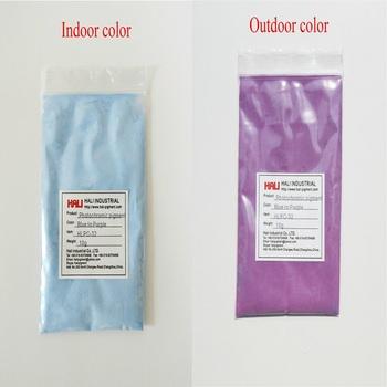 Bubel podwójne kolor fotochromowe pigment energia słoneczna reaktywne pigmentu UV proszek wrażliwy na 1 partia = 10g HLPC-32 niebieski fioletowy darmowa wysyłka tanie i dobre opinie Farby akrylowe Szkło Płótno Papier HALI Luźne blue purple 10gram
