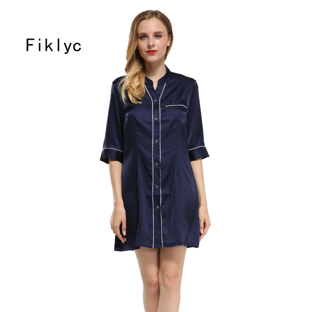 Fiklyc brand half-sleeve women s pockets summer satin nightgowns female  sexy round neck mini nightdress nightshirts high quality 3b7c1e7ca