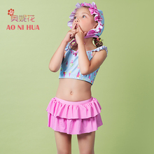 AONIHUA 2017 Print Ice cream Two piece Swimsuit Girls kids Tankini with Skirt Ruffles Quickly dry swimwear Children bathing suit