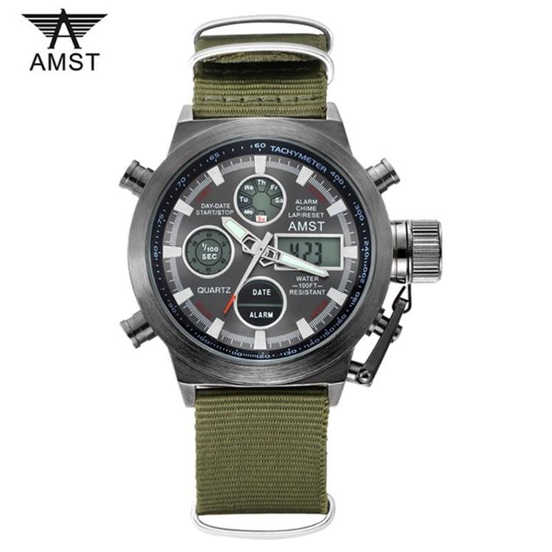 AMST Watches Men Fashion Casual Quartz Watch Double Display Sports Waterproof Digital Wrist Watch Relogio Masculino Clock