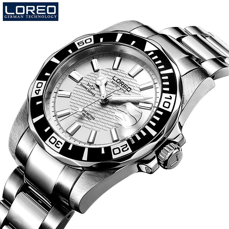 200 м водонепроницаемые автоматические часы для мужчин люксовый бренд LOREO полностью стальные механические часы сапфировый календарь светящиеся часы для мужчин L9202 - 2
