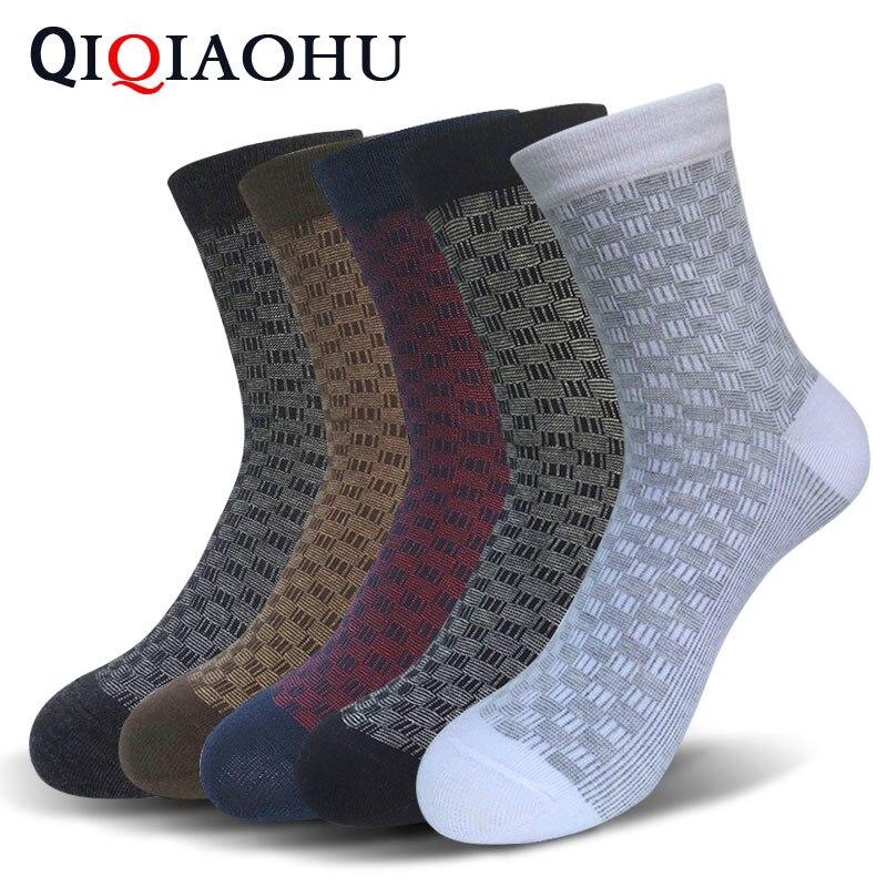 5 Pairs Mens Cotton Dress Socks Male Quality Business Short Black Sokken Super White Check Elegant Sokken Fine Wedding Meia Man