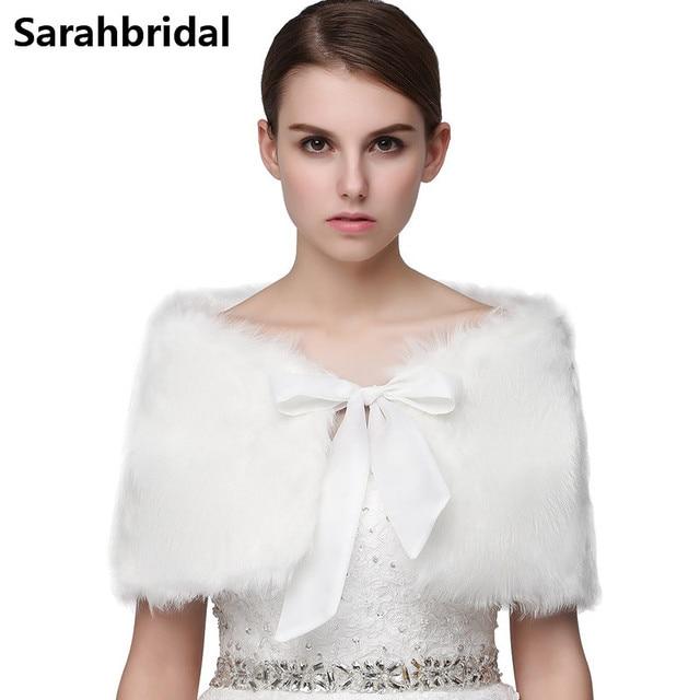 Новое поступление 2017 года искусственная Меховая куртка с запахом Болеро Пальто с запахом шаль накидка Свадебная шаль Свадебные Аксессуары 17001