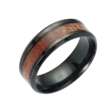 High Quality Stainless Steel Black Men Rings Titanium Tungsten Acacia Wood Anel Casal Wedding Engagement Ring Clock  For Women.