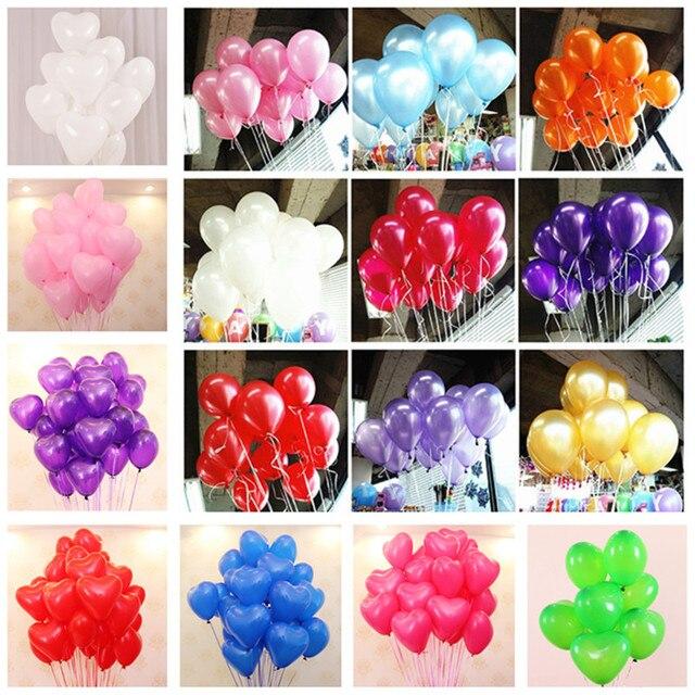 10pcs 10 Inch Latex White Black Gold Balloons Baby Heart Balloons