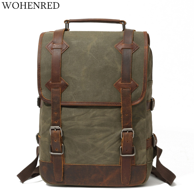 Men s Backpacks Vintage Canvas Leather Laptop Backpack Male College School Bags High Quality Waterproof Big