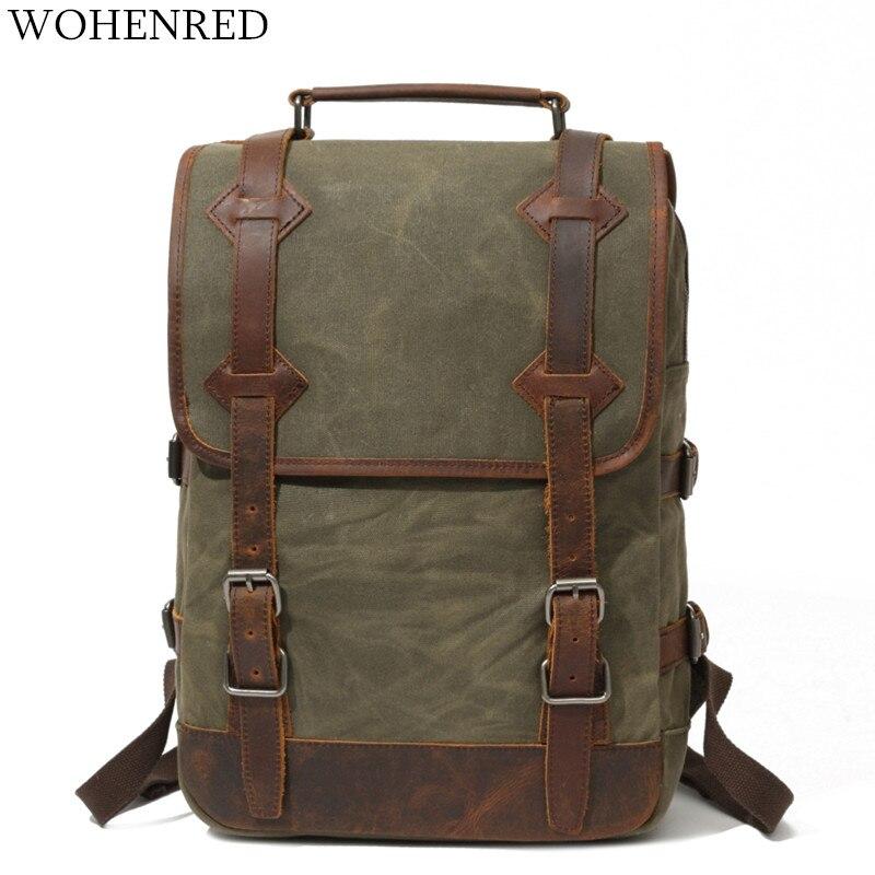 Mochila De Cuero Vintage para hombre, mochila para ordenador portátil, mochila para Colegio, mochila impermeable de alta calidad, bolsa de viaje grande-in Mochilas from Maletas y bolsas    1