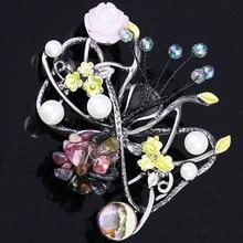 Grânulos De Pedra naturais Buquê de Flores Pinos Broche Jóias para Mulheres Rodada Strass Broches Cachecol Acessórios Vestido XZ182