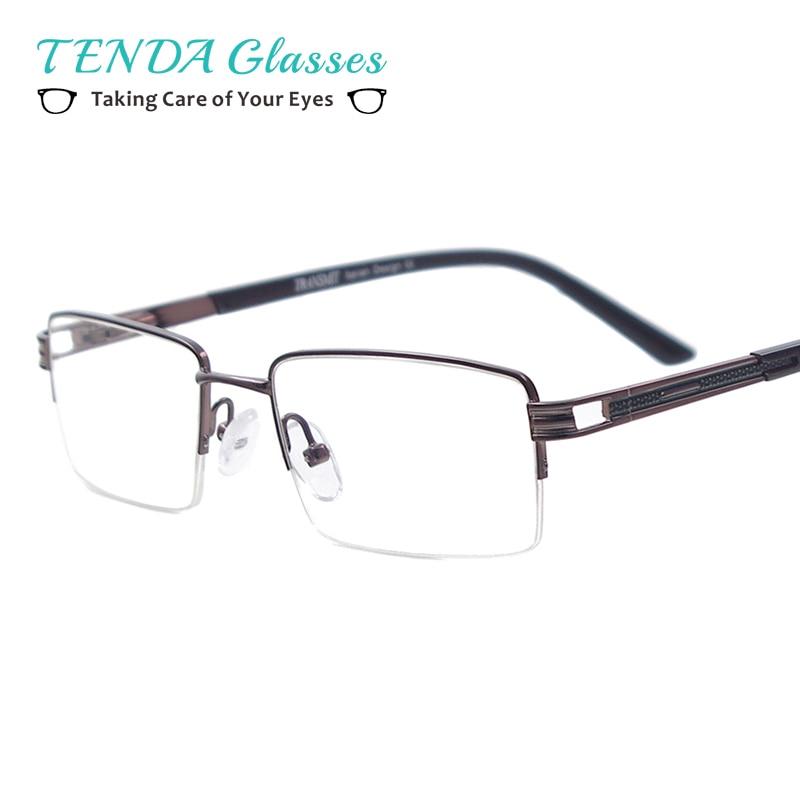 c530cf889a821 Homens Clássico Óculos Metade Rim Óculos com Dobradiça de Mola De Metal  Retângulo Para Miopia óculos de Leitura Prescrição Lentes Multifocais