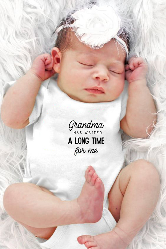 Grandma Waited A Long Time For Me Letter Print Baby Boys Girls Bodysuit  Newborn Cotton Playsuits Kids Cute Onesie 0-24 M