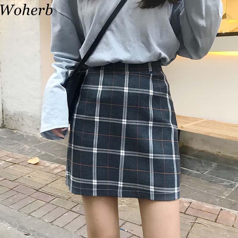 548226632 Woherb 2019 da Manta Do Vintage Saias Das Mulheres Saia Lápis de Cintura  Alta Coreano Streetwear