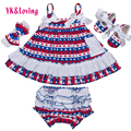 4th of July Girl Outfit  Briefs+Sling Girls 4pcs Cotton Baby Clothing Set Newborn Ruffles Bloomers Girl Short HOT Quality