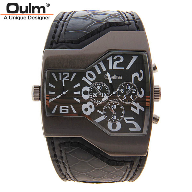 New Fashion Sport Watch Oulm Japan Double Movement Watch Men Square Dial Compass Function Military Cool Stylish Watches relojio 2017 luxury men s oulm watch sport relojes japan double movement square dial compass function military cool stylish wristwatches