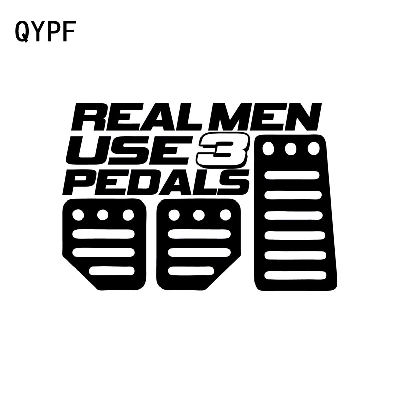 QYPF 15.5cm*10.6cm Creative REAL MEN USE 3 PEDAL Fun Vinyl Decal Car Sticker Black Silver Accessories C15-0074