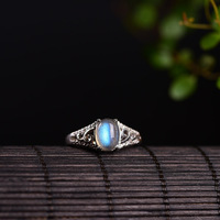 Natural Moonstone Real Silver 925 Thin Band Rings Women Elegant Natural Stone Female Jewelry 100 925
