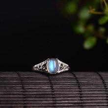 Натуральный лунный камень Реальные серебро 925 тонкая полоска кольца Женские Элегантные натуральный камень женских украшений 100% 925 стерлингового серебра 925 Bijoux