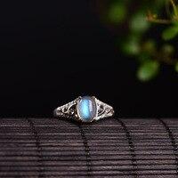 Naturalny Kamień Księżycowy Prawdziwe Srebro 925 Cienkie Zespołu Pierścionki Kobiety Elegancki Kamień Naturalny Biżuteria Kobiet 100% 925 Sterling Silver 925 Bijoux