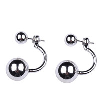 2018 New Fashion Woman's trandy Double Balls Exquisite Shiny Stud Earrings Girls Cute Earrings Dance Birthday Party Earrings(China)