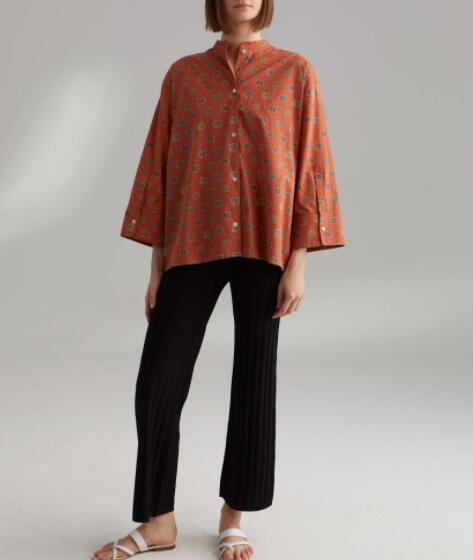 WISHBOP Zahora بلوزة الصدأ طباعة موقف متابعة طوق الجبهة زر واسعة اقتصاص الأكمام المتضخم القطن قميص أعلى صيفي بلوزة-في بلوزات وقمصان من ملابس نسائية على  مجموعة 2