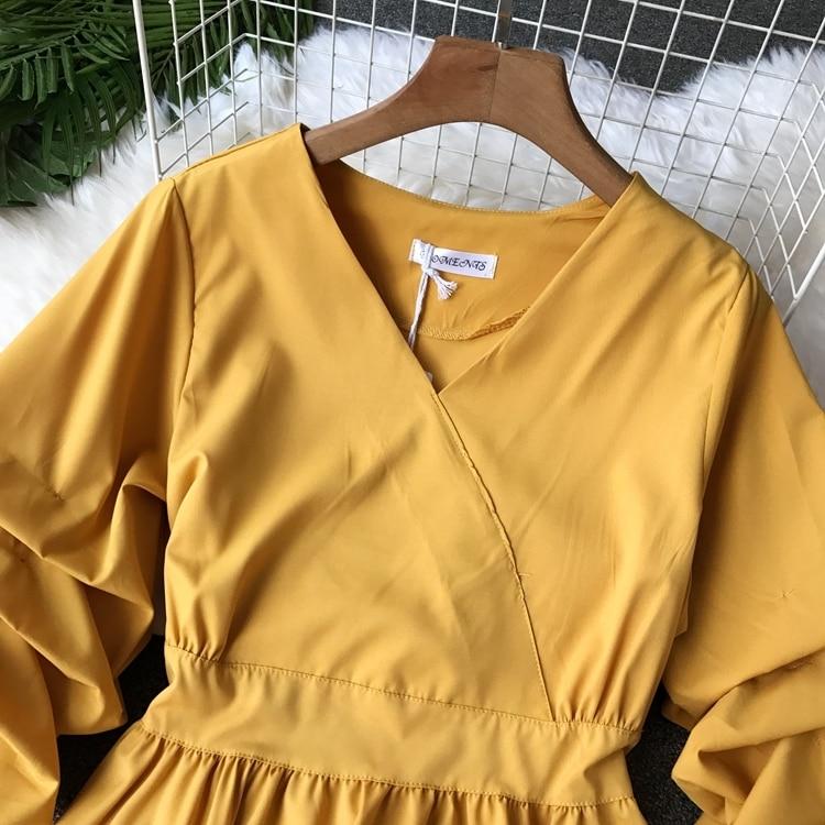 2109 Spring Women V-neck Puff Sleeves Blouse Slim Tunic Tops Retro Vintage Pullovers Busos Para Mujer Kimonos 76