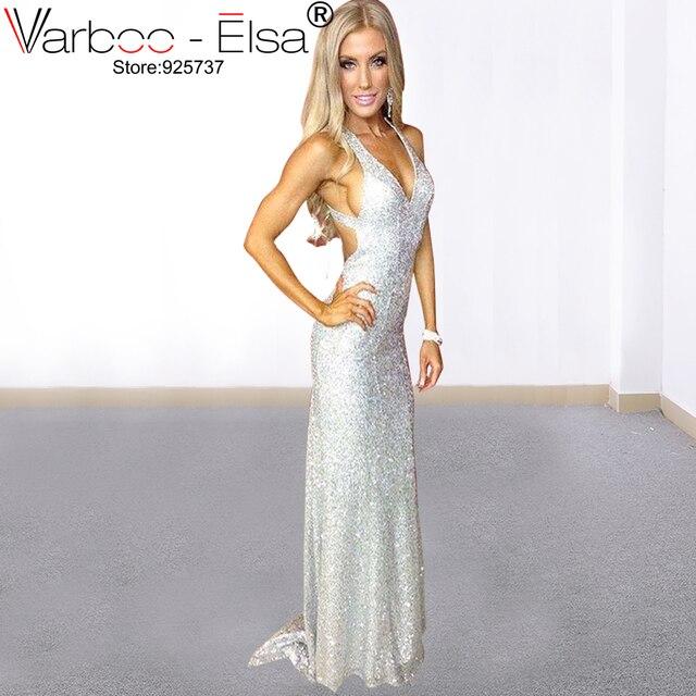 0ee6128e3c2 VARBOO ELSA Sparkly Silber Prom Kleider Backless v-ausschnitt mit Zug 2019  Sexy Günstige Kleider Für Besondere Anlässe Abend Party Kleider