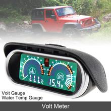 12V 24V Universal Volt Meter 2 In 1 LCD Digital Gauge & Water Temp with Sensor Auto Instrument for Car Truck