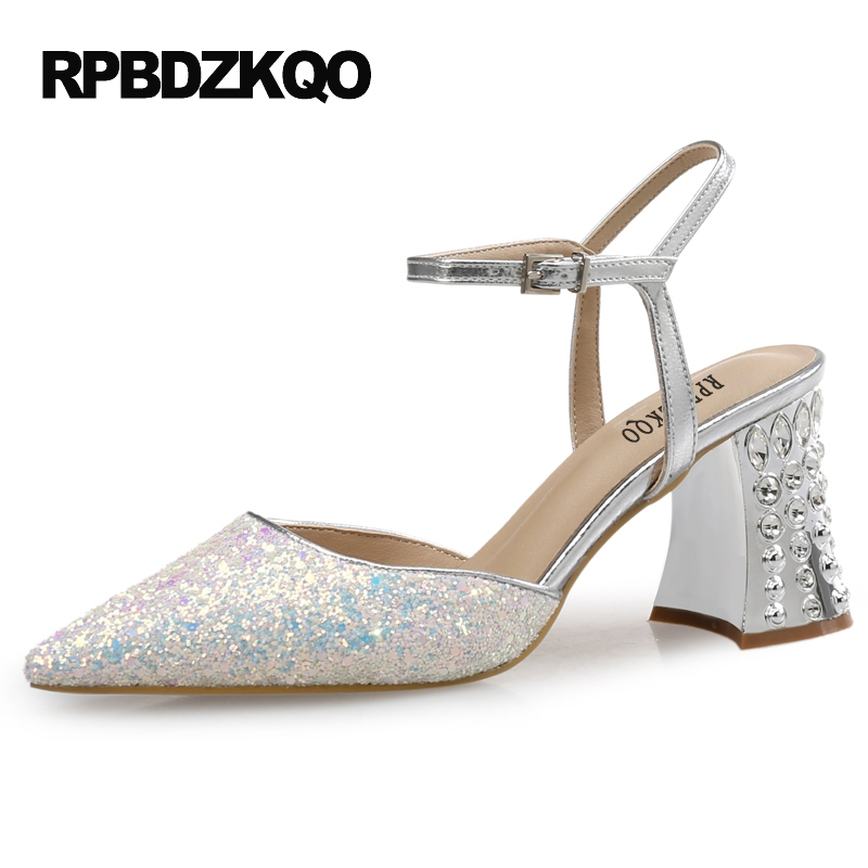 Pointed Toe Ankle Strap Pumps Sandals Slingback Women Designer Bling Rhinestone Big Size Crystal White 3 Inch Sparkling Chunky suede slingback 9 bling black women pointed toe large size summer flats rhinestone sandals ankle strap ladies beautiful shoes