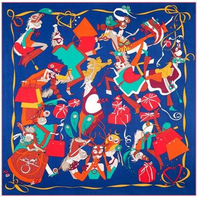 2019 Big Square Joker Silk Print shawl Ladies New Fashion Cartoon Shawl Scarf Twill Blue scarfs Wholesale 130*130CM 1332